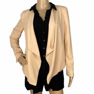 Zara Basic Blush Pink Open Waterfall Blazer